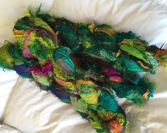 100 grams 1 skeins recycled silk   ribbon  knitting crochet craft embellishment yarn green emerald mix