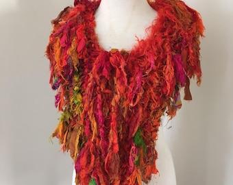 silk scarf, bright orange Recycled silk, hand knitted, boho tattered rag scarf