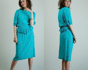 SALE 25% off sundays Jane Schaffhausen Dress Vintage 80s Emerald Floral Print Peplum Waist Draped Dress (s m)