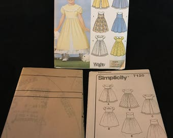 Simplicity Pattern 7120 Child's Dress With Collar And Skirt Variations Size A 3-8