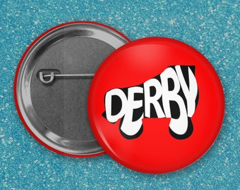 Roller Derby word shapes pinback buttons 1 1/4 inch round