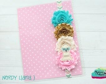 Planner band { Nerdy Llama } animal pastel, pink, gold aqua spring band planner girl accessories bible band, baby headband