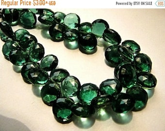 ON  SALE Green Hydro Quartz Gemstone. Semi Precious Gemstone Bead. Faceted Heart Briolette. 12.5mm. Pairs or Non Matching 1 to 5 Briolettes