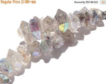 ON  SALE Herkimer Diamond Quartz Double Terminated Nugget Center-Drilled Herkimer Briolette 13-17mm  Semi Precious Gemstone. Sold Individual