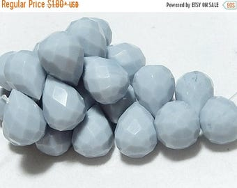 SALE Faceted Teardrop Pale Blue Briolette Pendant Drop, 14x10mm. Glass Quartz Gemstone. Semi Precious Gemstone. Pairs or NonMatching 1 to 5