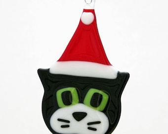 Glassworks Northwest - Black Cat w/ White Cheeks and Santa Hat - Fused Glass Ornament