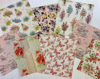 7 Vintage Floral and Butterfly Wrapping Papers, Vintage Floral Gift-wrap, Floral Wrapping Paper, 1940s-1960s