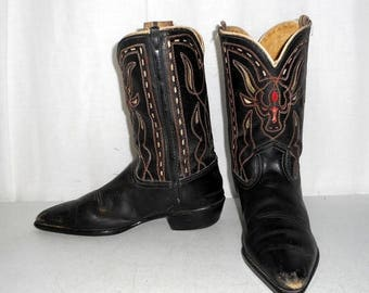Vintage Rockabilly Western Black Leather Cowboy Boots Steer Cow Head Horns Kids