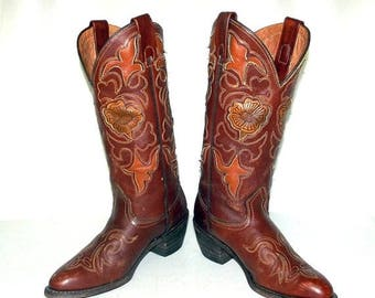 Brown leather Texas brand Womens Cowboy Boots size 5.5 M - cowgirl western wear