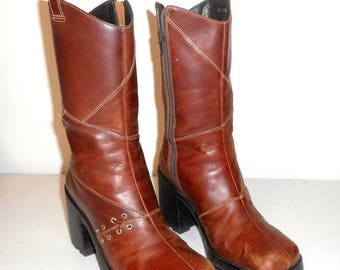 Womens Size 6 Brown Fashion Boots Retro Chunky Heels Amazonas Vintage Side Zipper