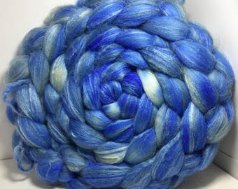 Merino/Baby Camel/Tussah 60/20/20 Roving Combed Top - 5oz - Little Boy Blue 1