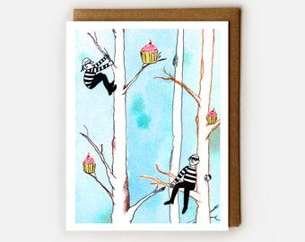 Cupcake Burglar, Blank Card, Dessert Lover, Whimsical Notecard, Cute Card, Greeting Card, Quirky Gift,  Art Card, Absurdism, Sweet Card