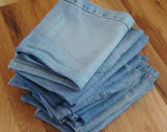 9 Blue Jeans Legs ~ Upcycle Sew Craft Applique ~ Bags Pillows Purses Pot Holders ~ Denim to REPURPOSE ~ 5 POUNDS of Fabric!