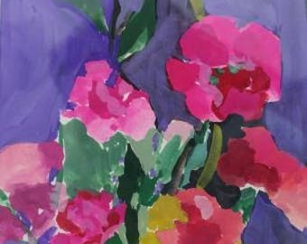 pink carnation, still life, watercolor, gouache, hand painted, gift , white mat and backing, 4 x 6 inches, impressionism, purple and pink