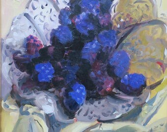 blackberries- impressionism -  impressionistic - food art - delicious art - still life painting - exotic - erotic - hand painted - one  kind