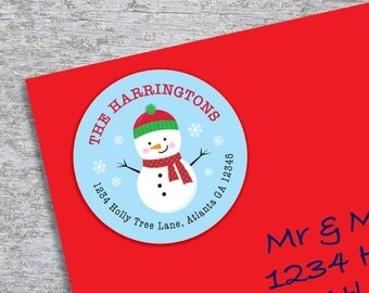 Personalized Christmas Address Label - DIY Printable - 2 Inch Circle - Little Snowman (Digital File)