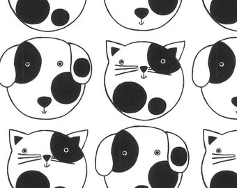 Cats and Dogs Fabric - Cats And Dogs By Littleislandcompany - Black and White Pets Cotton Fabric By The Yard With Spoonflower