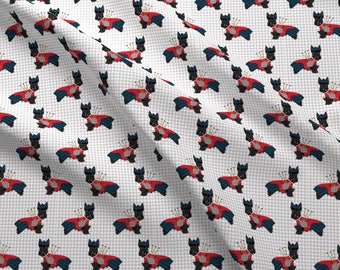Scottie Dog Fabric - Scottie Dog Bagpipes - Cute Scottish Terrier Tartan - Grey By Petfriendly - Cotton Fabric by the Yard with Spoonflower