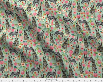 Blue Heeler Dog Fabric - Australian Cattle Dog Florals Mint By Petfriendly - Cattle Dog Cotton Fabric by the Yard with Spoonflower