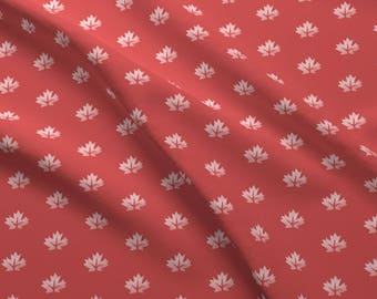 Maple Leaf Fabric - Maple Leaf On Red By Landpenguin - Red and White Canada Cotton Fabric By The Yard With Spoonflower