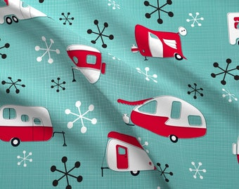 Mod Red Campers Fabric - Julie'S Campers By Juliesfabrics - Mod Retro Camper Cotton Fabric By The Yard With Spoonflower