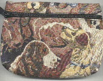 Tapestry Fabric Springer Spaniel/Jack Russell/Multi Dog Breed Zippered Cosmetic Pouch Case made in USA