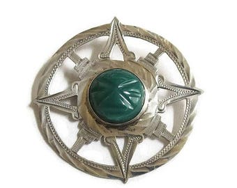 SALE Sterling Silver Green Onyx Aztec Sun God Brooch or Pendant Vintage Signed