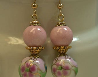 Vintage Pink Rhodonite Dangle Drop Bead Earrings, Vintage Chinese Pink Porcelain Flower Beads, Gold Ear Wires - GIFT WRAPPED