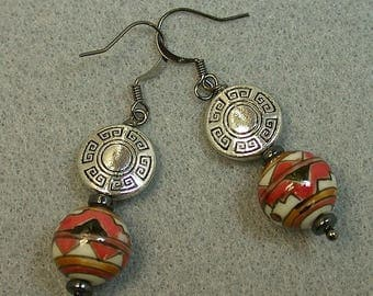 Vintage Chinese Porcelain Red White Black Dangle Drop Bead Earrings,Silver Plated Medallions,Vintage Hematite- GIFT WRAPPED