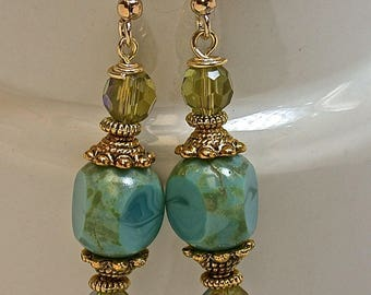Vintage German Turquoise Green Picasso Cathedral Glass Bead Drop Earrings,Vintage Crystal Beads Peridot Green A/B Iridescent, Gold Ear Wires