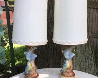 Pair of Little Bluebird Lamps