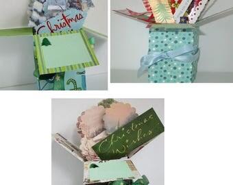 Handmade Christmas Holiday Pop up Exploding Box Card- 3 Variations-- Free ship USA