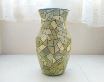 Green Vase, Mosaic Vase, Decoupage Vase, Centerpiece Vase, Table Centerpiece, Decorative Vase, Table Decor, Housewarming Gift, Ready To Ship