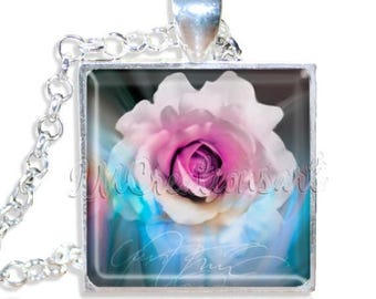 "20% OFF - Rose Flower  1"" Square Glass Pendant or with Necklace - SQ207"