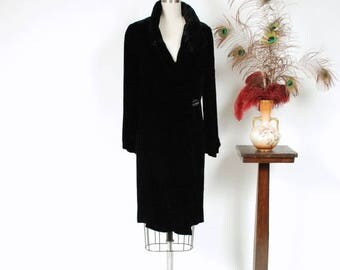 Memorial Weekend Sale - Vintage 1920s Coat - Plush Black Silk Velvet 20s Coat with Fabulous Shirred Collar and Sleeves