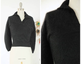 Memorial Weekend Sale - Vintage 1950s Sweater - Quintessential Fuzzy Black Angora Pin Up 50s Sweater Girl Jumper