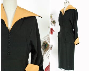 Vintage 1940s Dress - Razor Sharp Black Rayon 40s Day Dress with Bold Contrasting Gold Faille Collar and Pockets