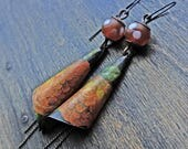 """Handamde artisan boho earrings in orange with salvaged tin by fancifuldevices- """"Where No One Sees You"""""""