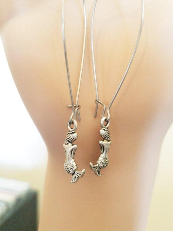 handmade mermaid earrings antique silver charm long dangles fantasy handmade mermaid jewelry USA seller