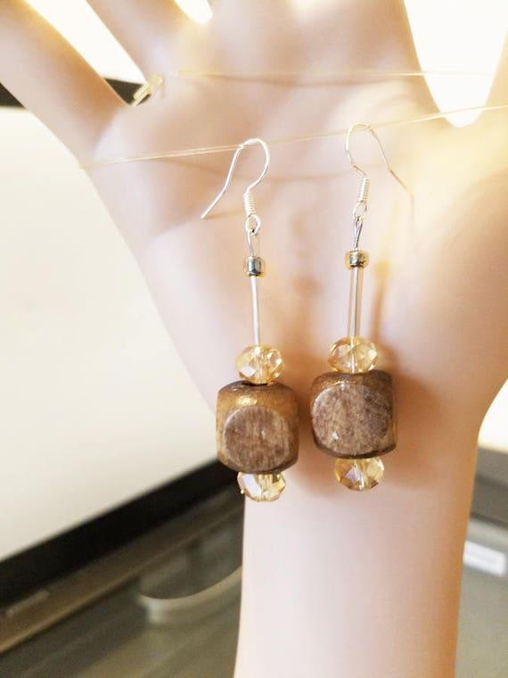 big brown bead drop earrings brown earrings long bead dangles wood bead earrings glass beaded jewelry By Elizavella