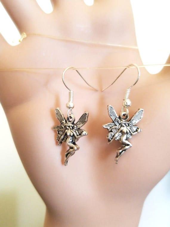 silver fairy charm earrings dangles ear hook handmade simple fantasy jewelry