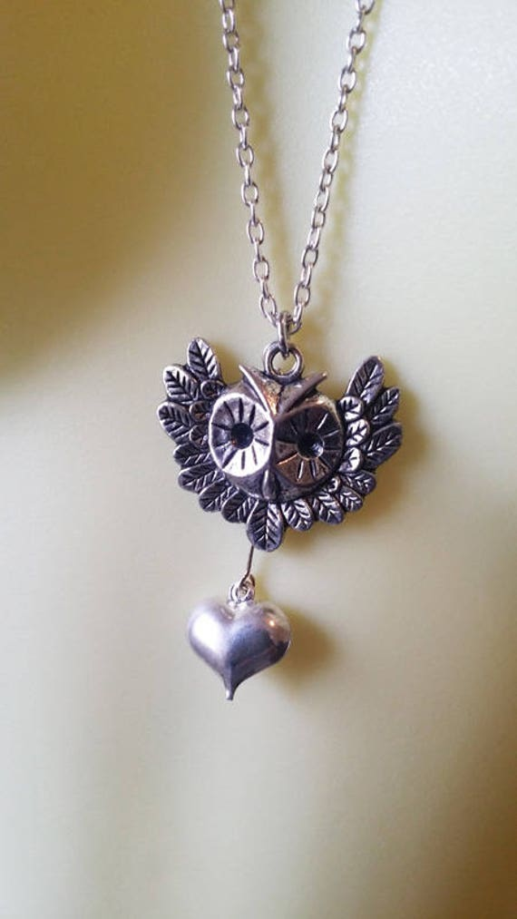 owl necklace wing heart necklace long necklace tibetan silver bird animal charm jewelry handmade womans
