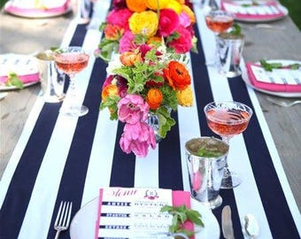 Navy and White Cabana Striped Tablecloth
