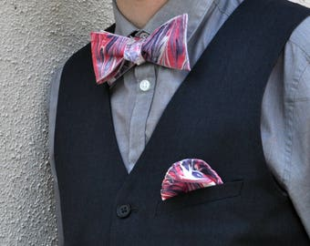 Bright Purple and Pink Self Tie Bow Tie and Pocket Square Made in Asheville NC MM#42-4816