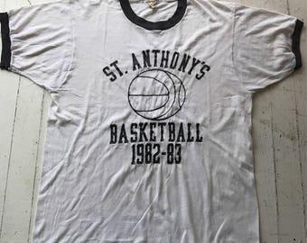 Vintage Basketball Tshirt / Vintage Tshirt / 1980s Tshirt / High School Tshirt / Ringer Tee / Soft Vintage Tee