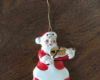 Vintage--Yona--Santa Claus--Christmas Ornament--Fiddling Santa--Fiddle