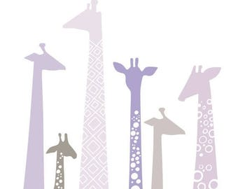 "SUMMER SALE 8X10"" modern giraffe silhouettes giclee print on fine art paper. light lavender purple, gray."