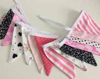 Bunting / fabric banner - 15 small pink, black and white flags Fabric Garland, nursery bunting, wedding garland