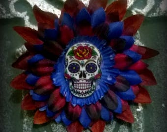 Pin: Dead Girl Decay - Day of the Dead Sugar Burgundy Blue Black Flower Feather Pin