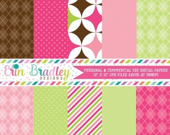 80% OFF SALE Digital Scrapbook Papers Personal and Commercial Use Pink Green Brown Argyle & Polka Dots